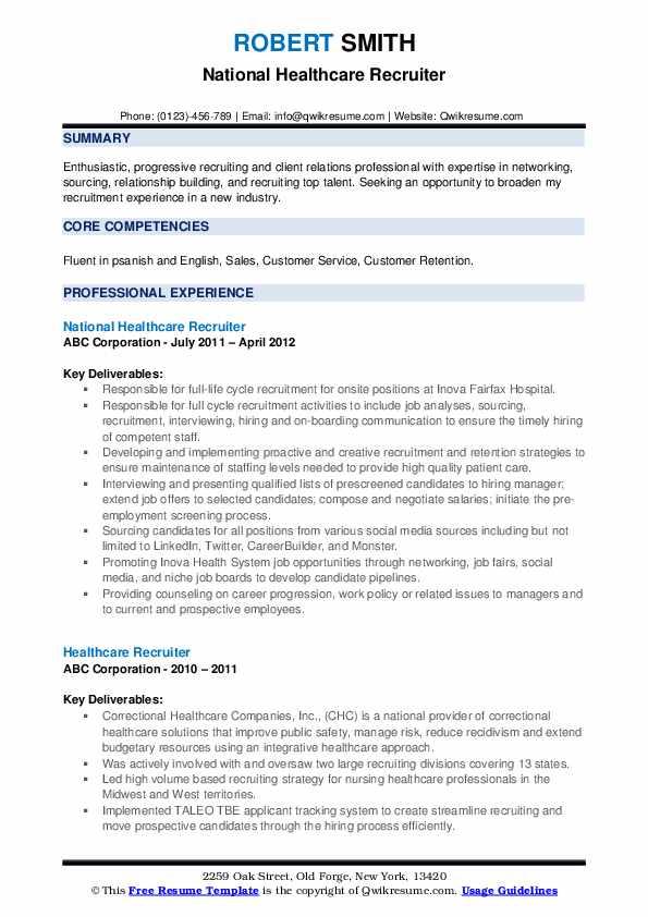 National Healthcare Recruiter Resume Format