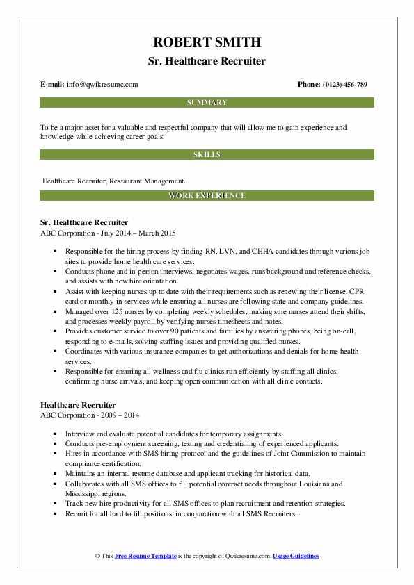 Sr. Healthcare Recruiter Resume Example