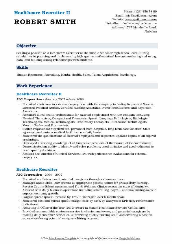 Healthcare Recruiter II Resume Example