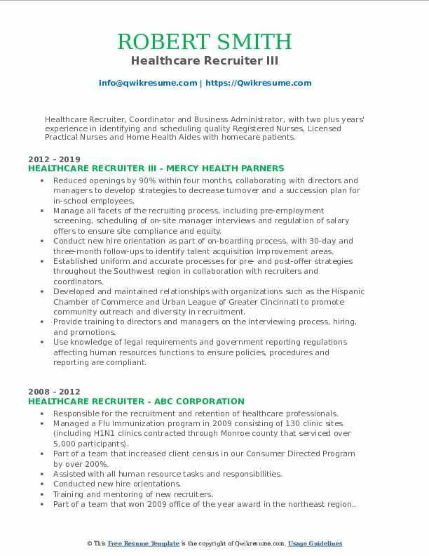 healthcare recruiter resume samples  qwikresume