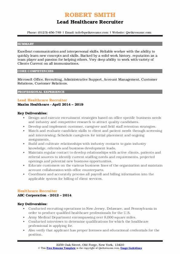 Lead Healthcare Recruiter Resume Template