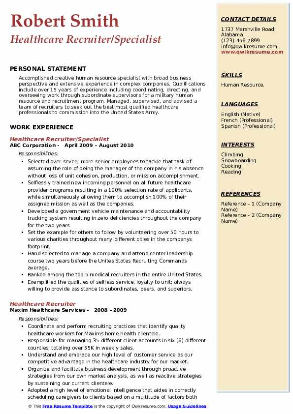 Healthcare Recruiter Resume Samples Qwikresume