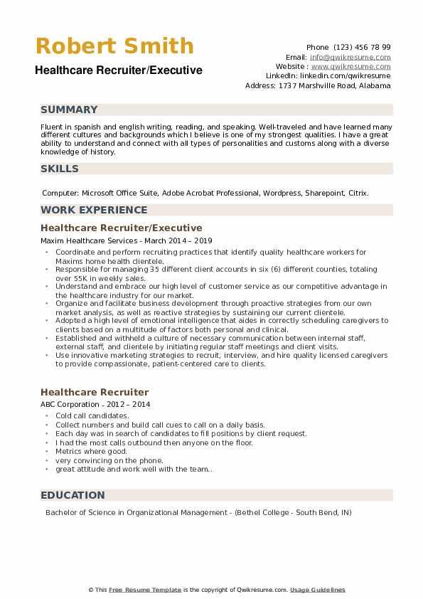 Healthcare Recruiter/Executive Resume Sample