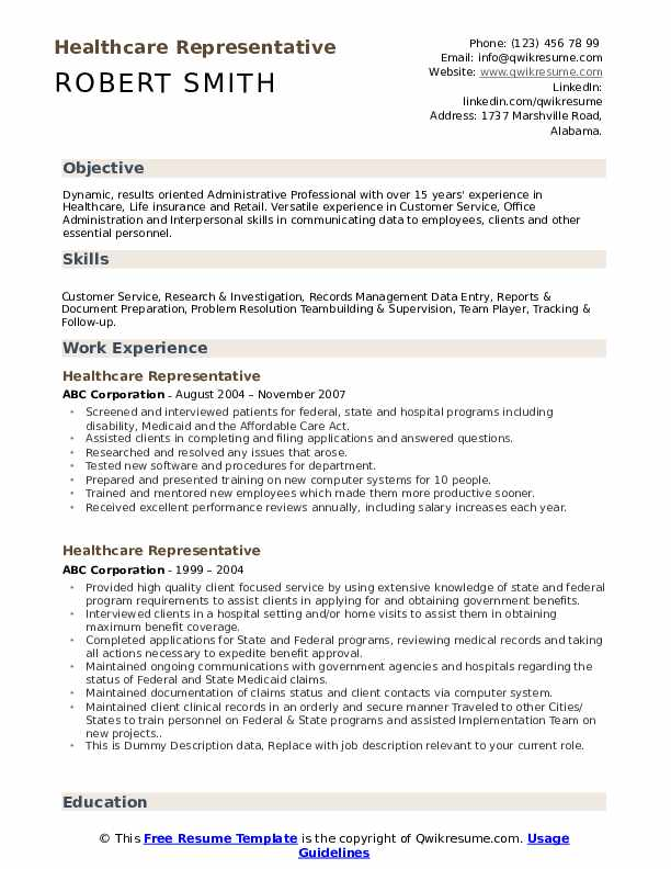 Healthcare Representative Resume example