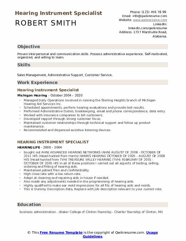 Hearing Instrument Specialist Resume example