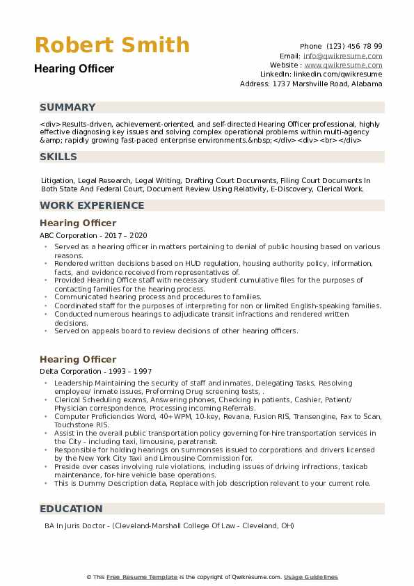 Hearing Officer Resume example