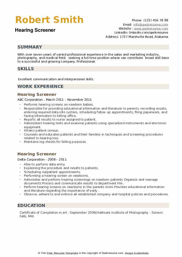 Hearing Screener Resume example