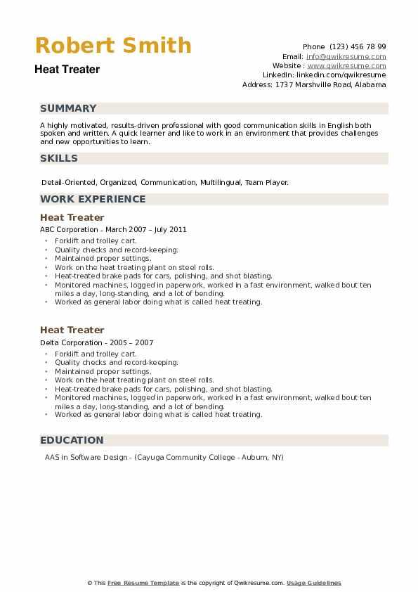 Heat Treater Resume example