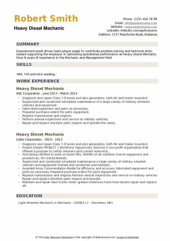 Heavy Diesel Mechanic Resume example