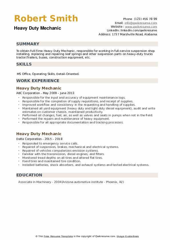 Heavy Duty Mechanic Resume example