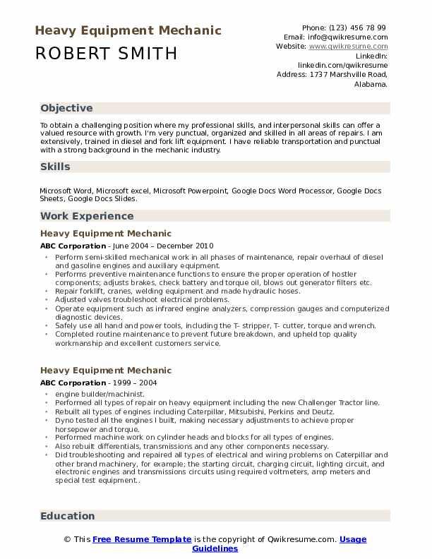 Heavy Equipment Mechanic Resume Template
