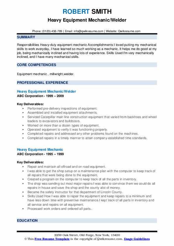 Heavy Equipment Mechanic/Welder Resume Model