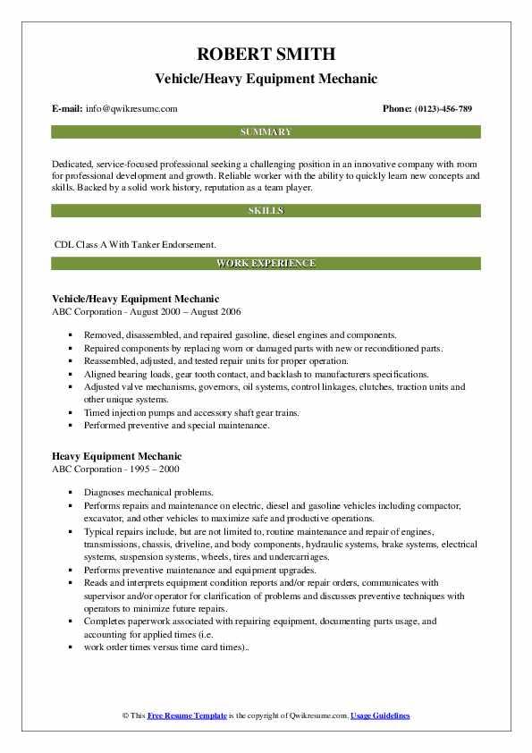 Vehicle/Heavy Equipment Mechanic Resume Template