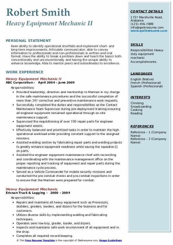 Heavy Equipment Mechanic II Resume Example