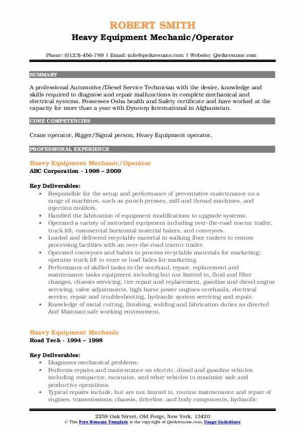 Heavy Equipment Mechanic/Operator Resume Model