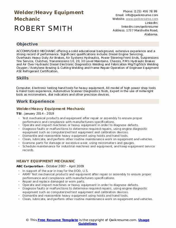 Welder/Heavy Equipment Mechanic Resume Model
