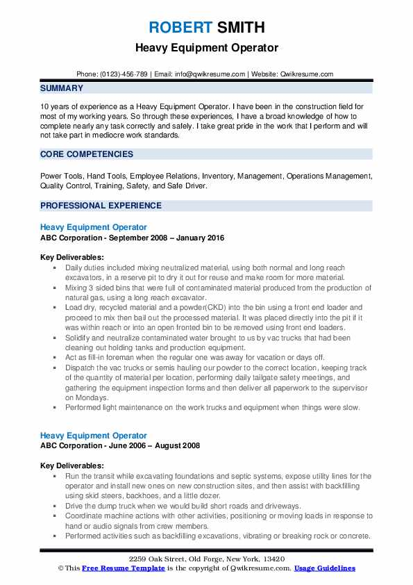 Heavy Equipment Operator Resume Model