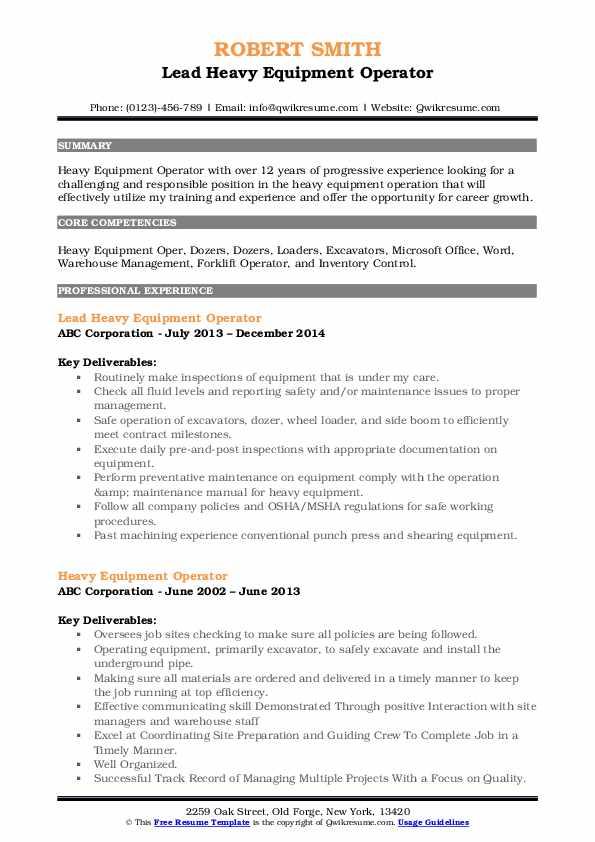 Lead Heavy Equipment Operator Resume Format
