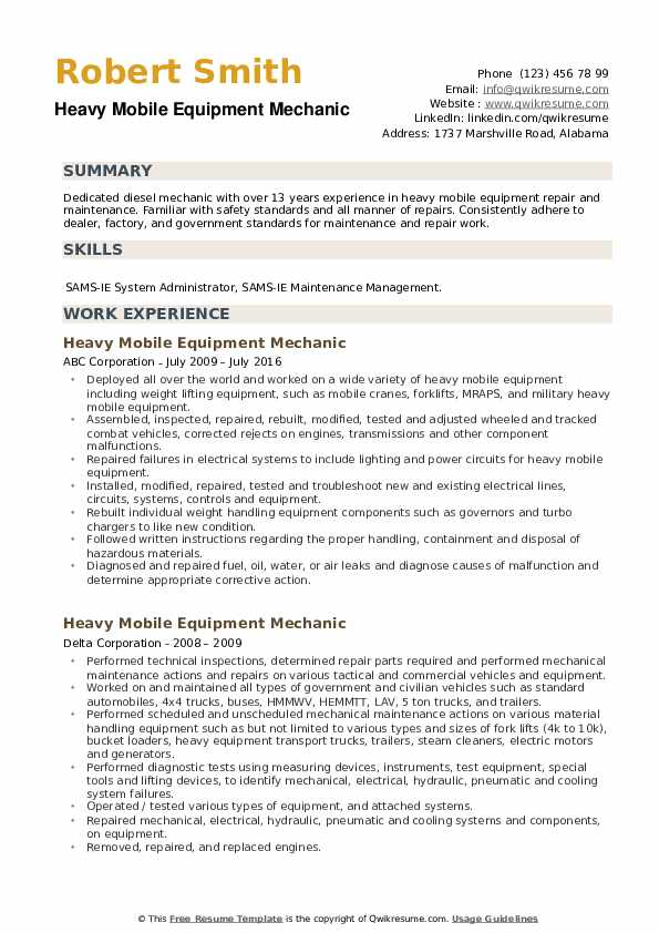 Heavy Mobile Equipment Mechanic Resume example