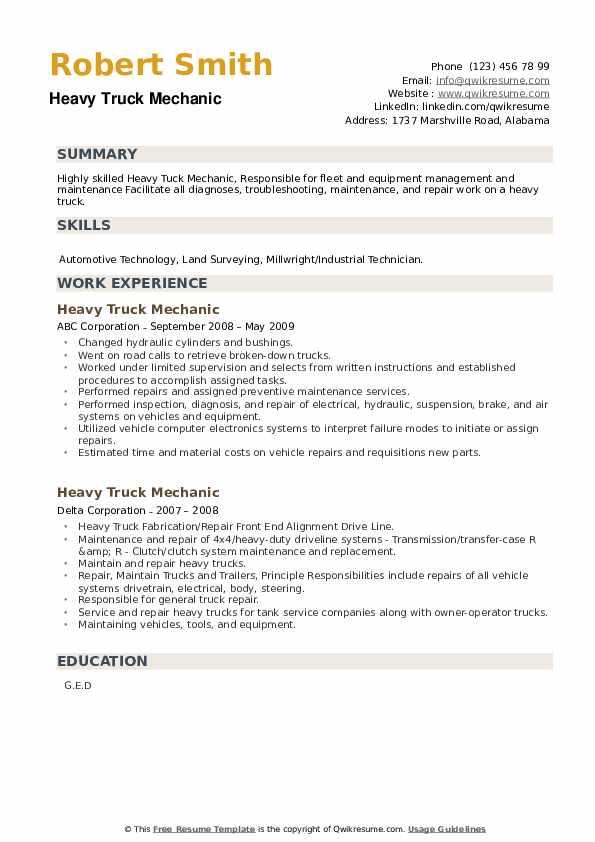 Heavy Truck Mechanic Resume example