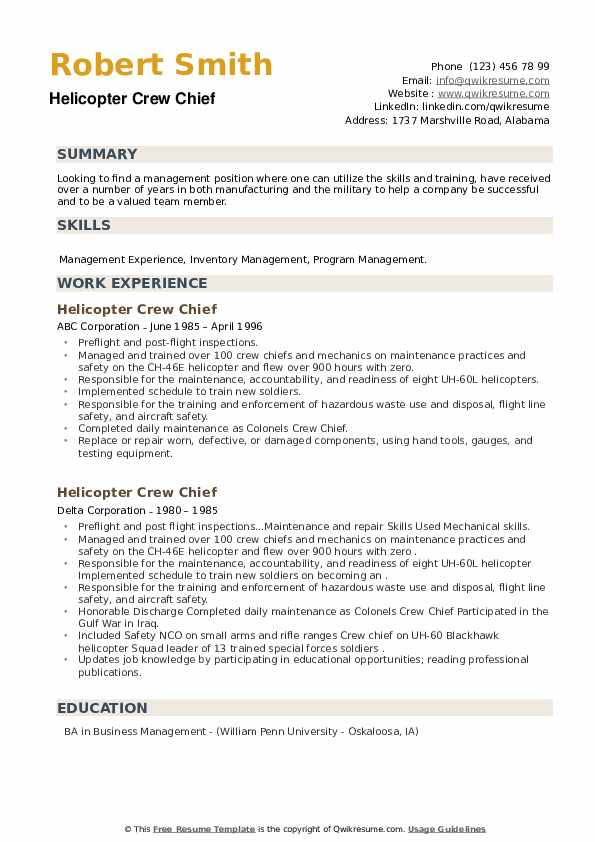 Helicopter Crew Chief Resume example