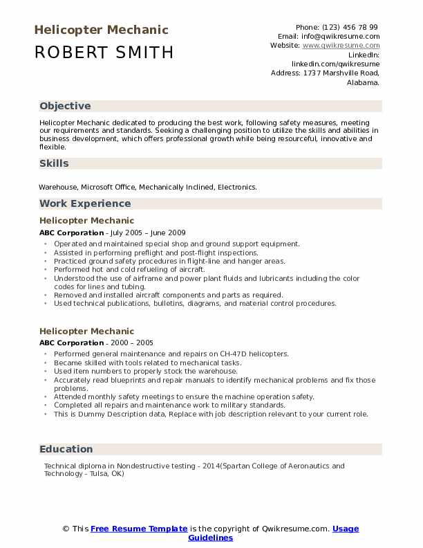 Helicopter Mechanic Resume example