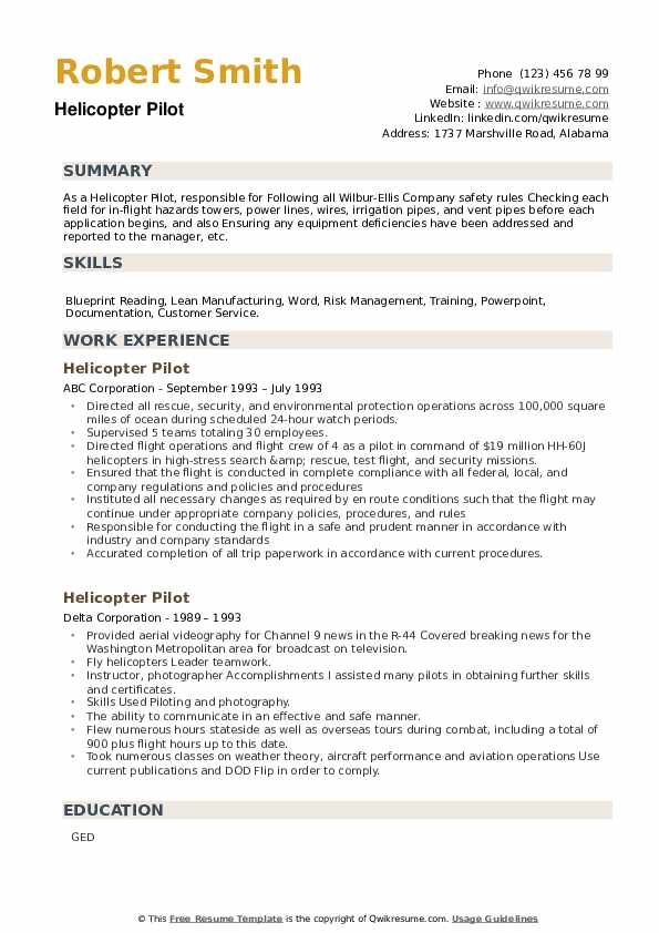 Helicopter Pilot Resume example
