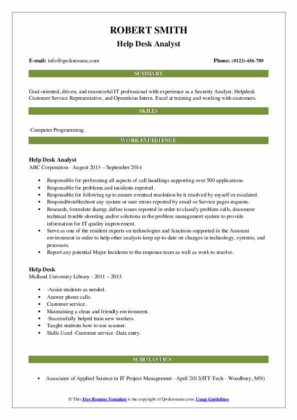Help Desk Analyst Resume Sample