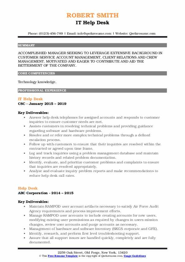 IT Help Desk Resume Template
