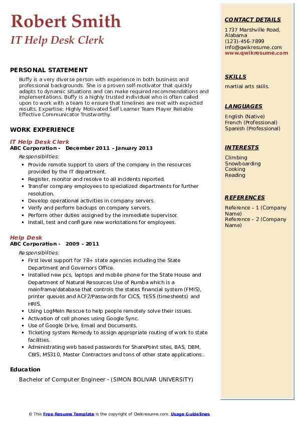 IT Help Desk Clerk Resume Model