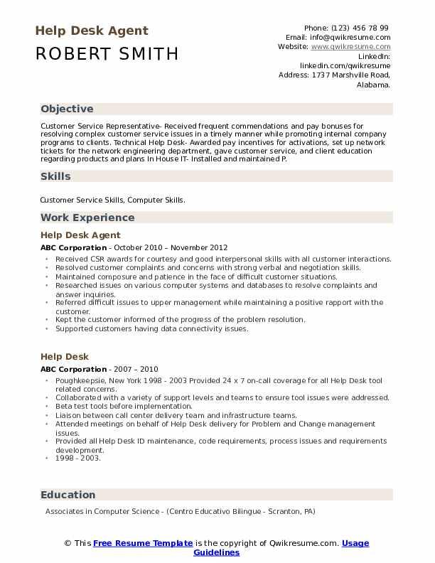 Help Desk Agent Resume Example
