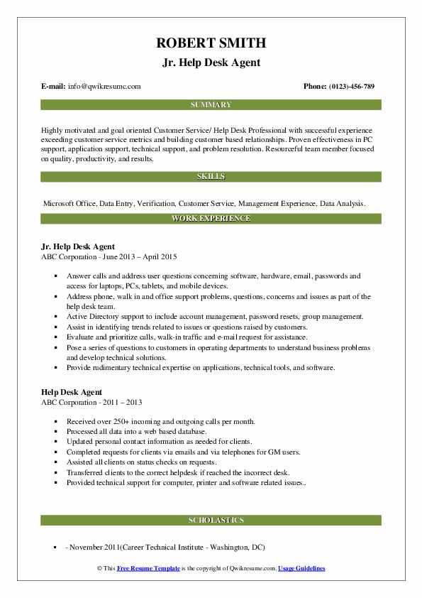 Jr. Help Desk Agent Resume Model