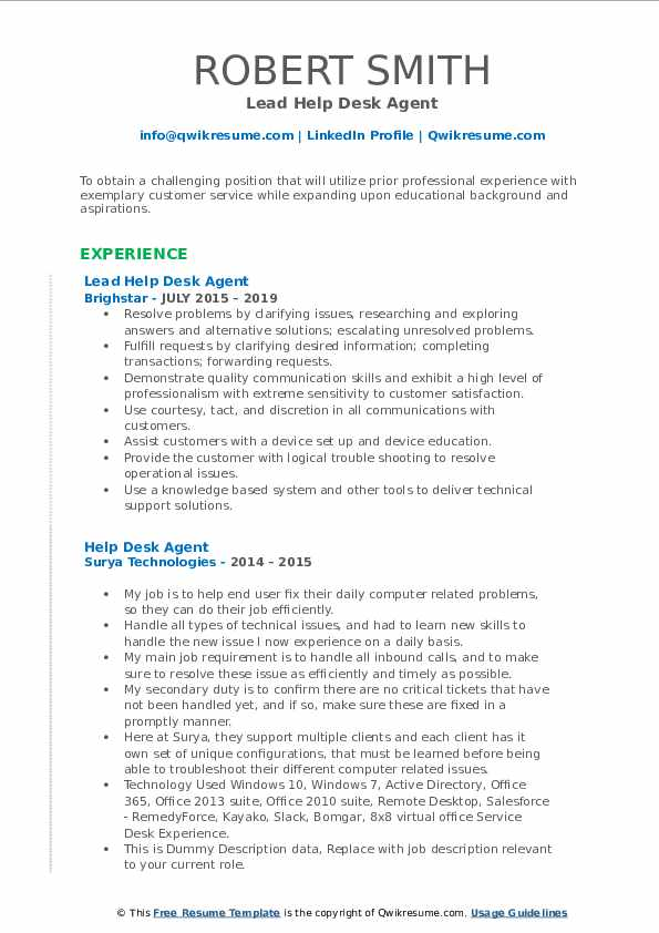 Lead Help Desk Agent Resume Format
