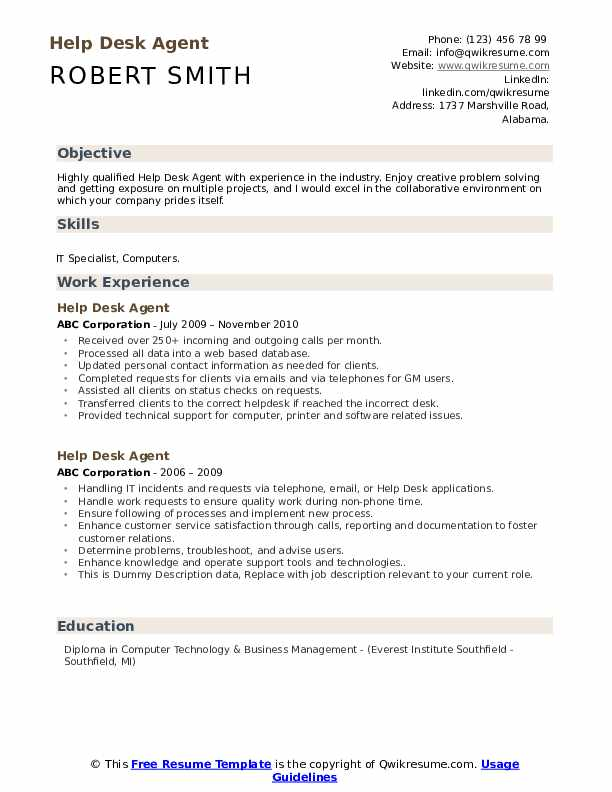 Help Desk Agent Resume example