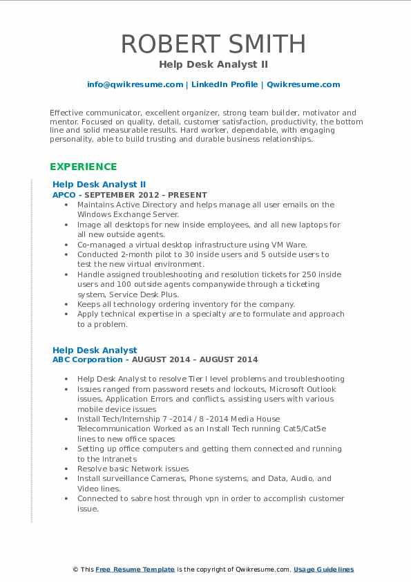 Help Desk Analyst II Resume Model
