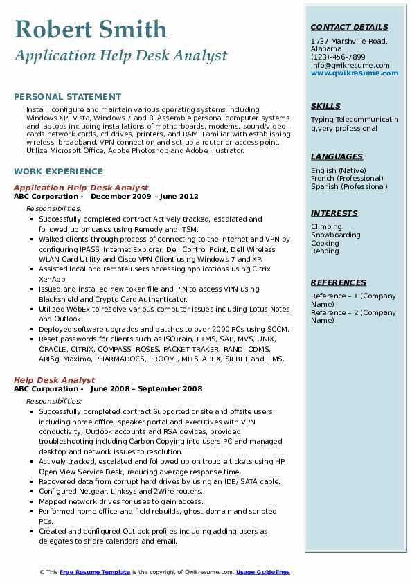 Application Help Desk Analyst Resume Model