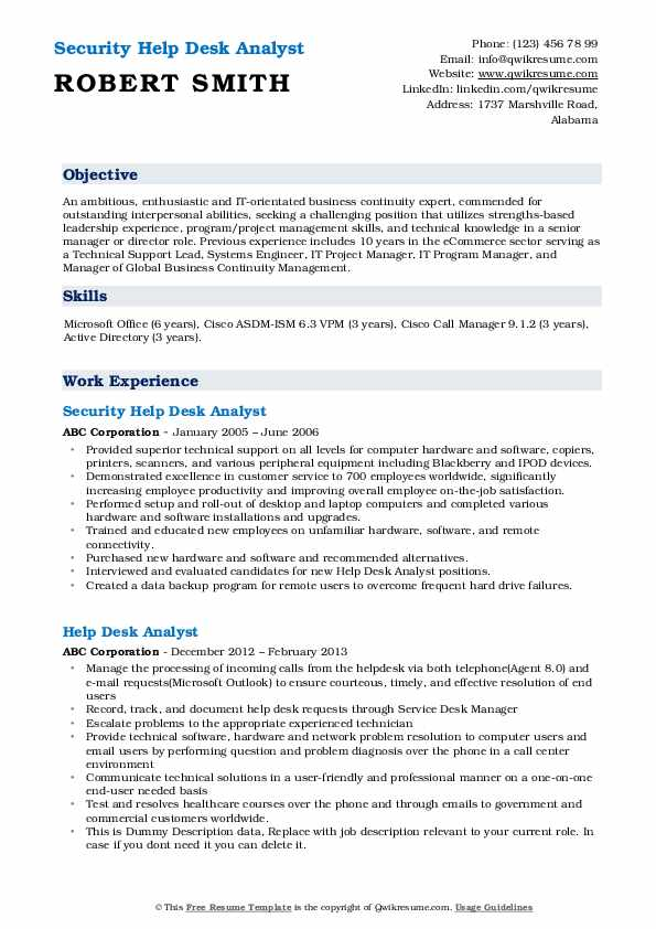Security Help Desk Analyst Resume Sample
