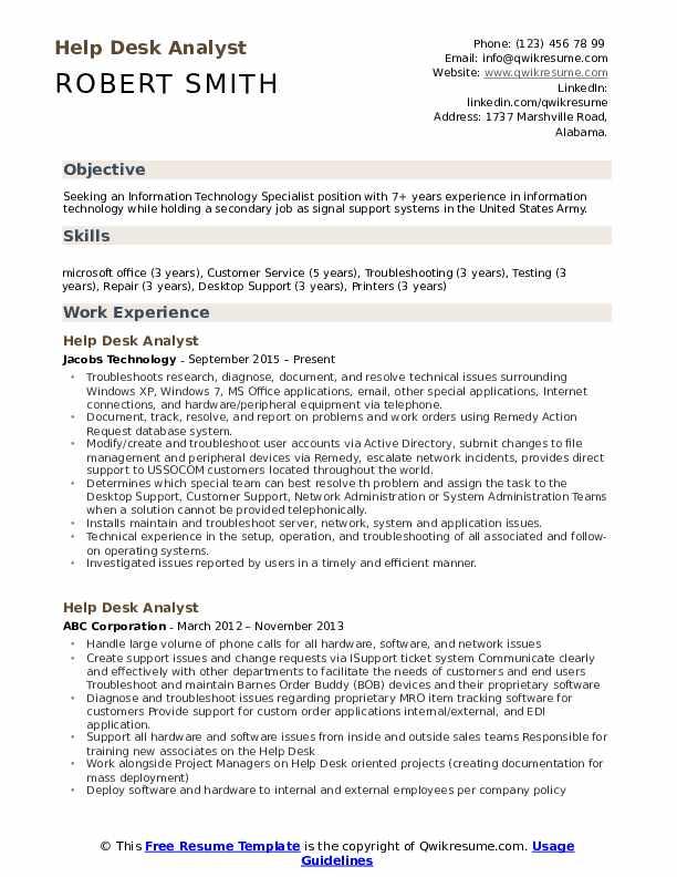 Help Desk Analyst Resume Format