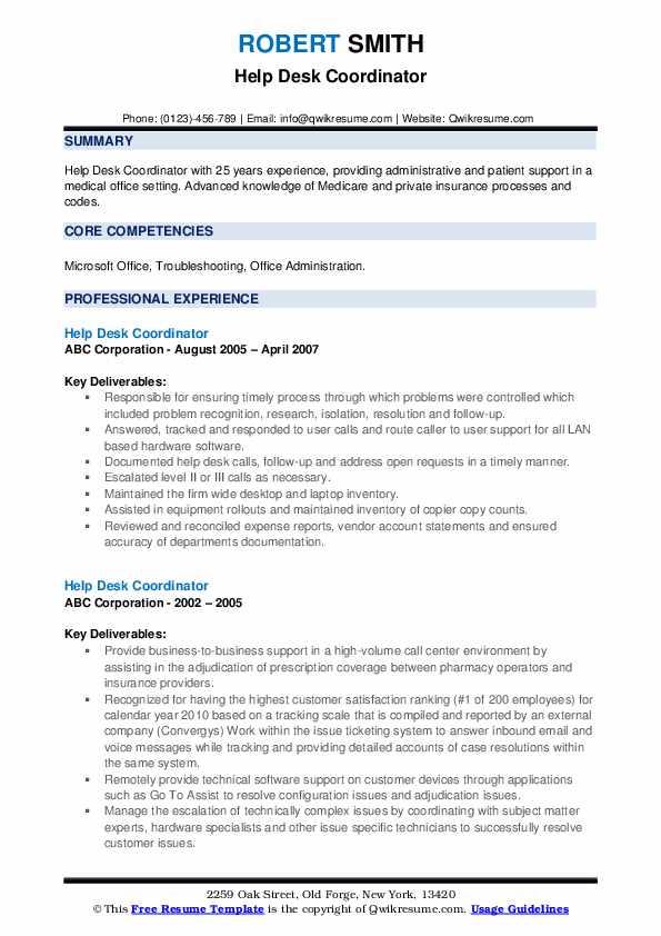 Help Desk Coordinator Resume example