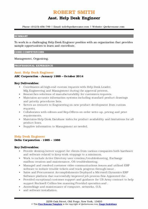 Help Desk Engineer Resume example