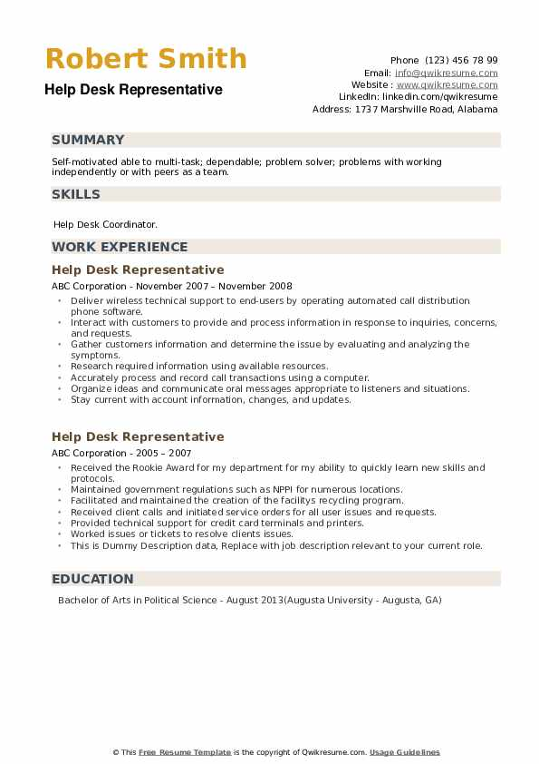 Help Desk Representative Resume example