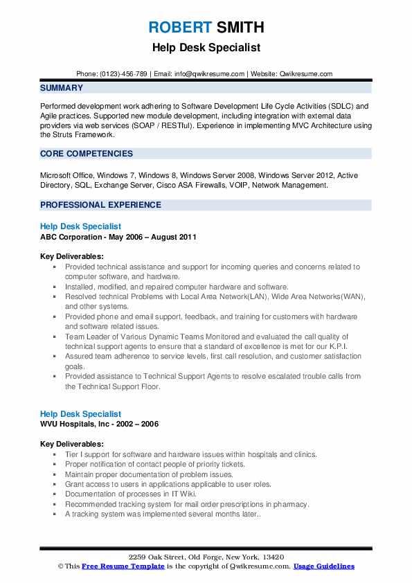 Help Desk Specialist Resume example