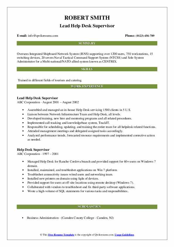 help desk supervisor resume samples