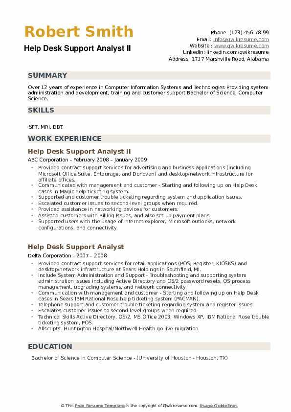 help desk support analyst resume samples  qwikresume