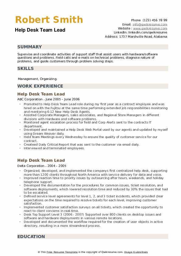 Help Desk Team Lead Resume example