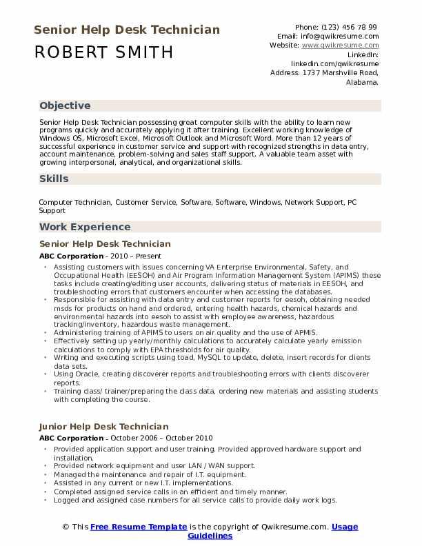 Senior Help Desk Technician Resume Sample