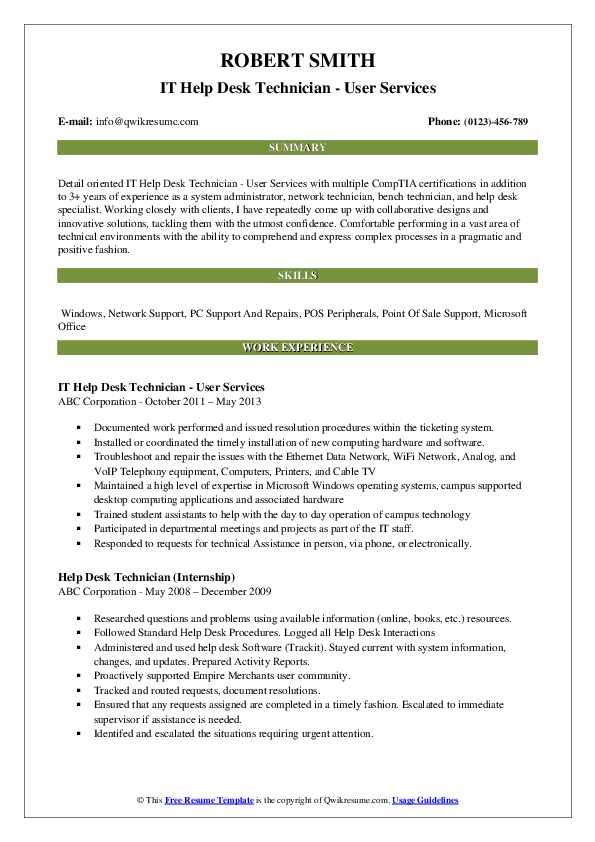 IT Help Desk Technician - User Services Resume Model