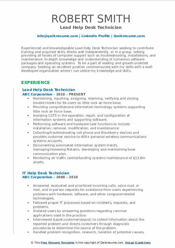 Lead Help Desk Technician Resume Template