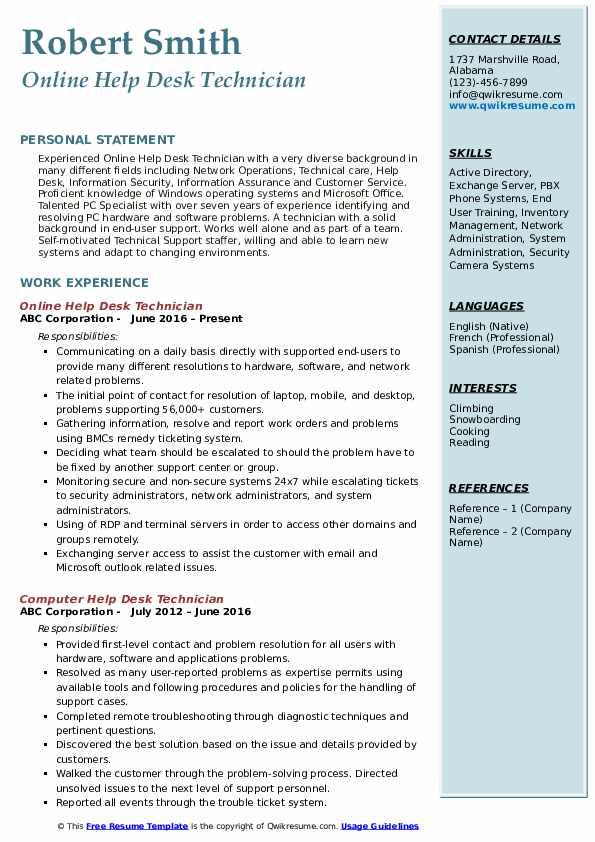 Online Help Desk Technician Resume Model