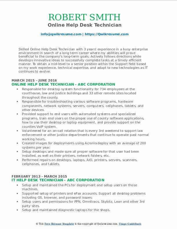 Online Help Desk Technician Resume Example